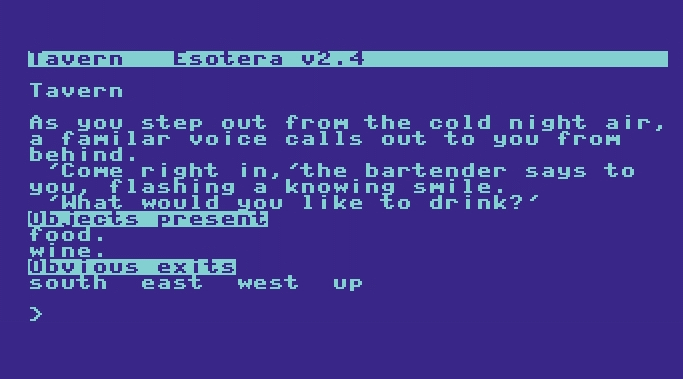 Screenshot of an old text adventure game.