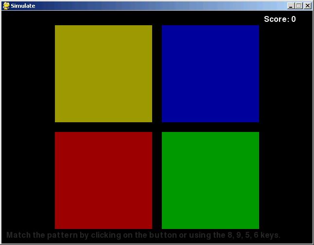Screenshot of Simulate game