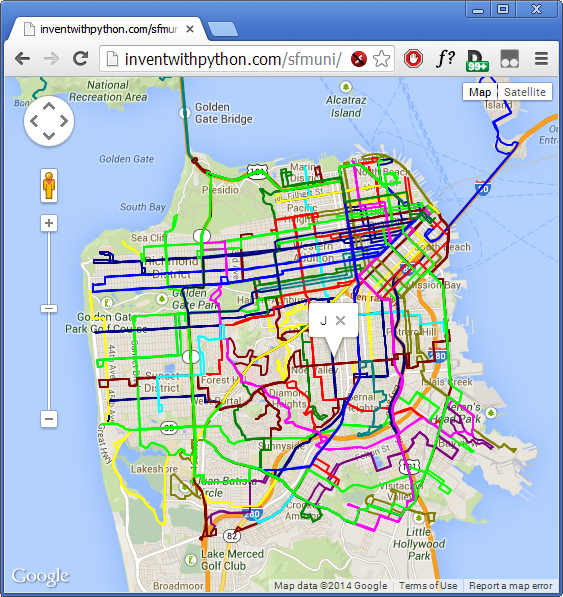 let s create software tutorial bus routes overlaid on google
